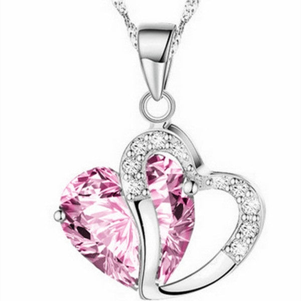 Clearance Double Heart Crystal Pendant Necklace-Rama Deals