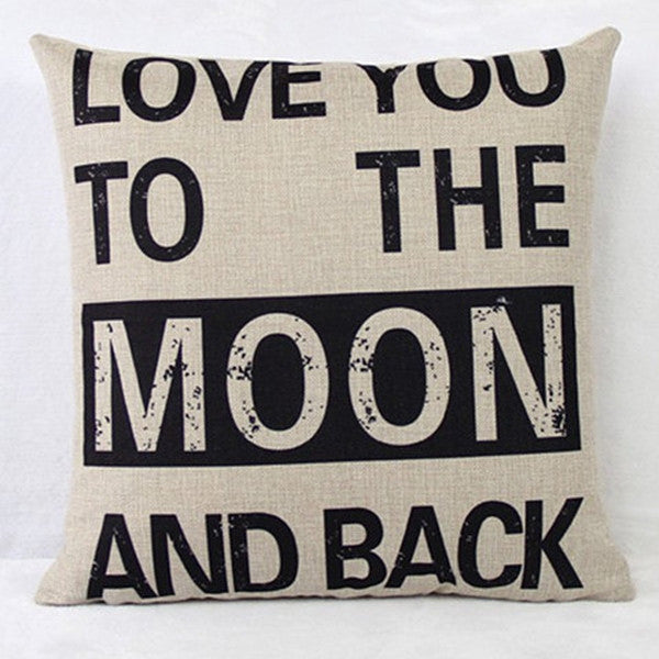 Love You to the Moon and Back Pillow Case(Without Pillow Inner)-Rama Deals