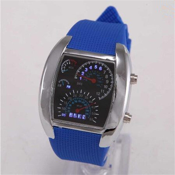 Man Car Meter Dial Silicone Strap Watches-Rama Deals