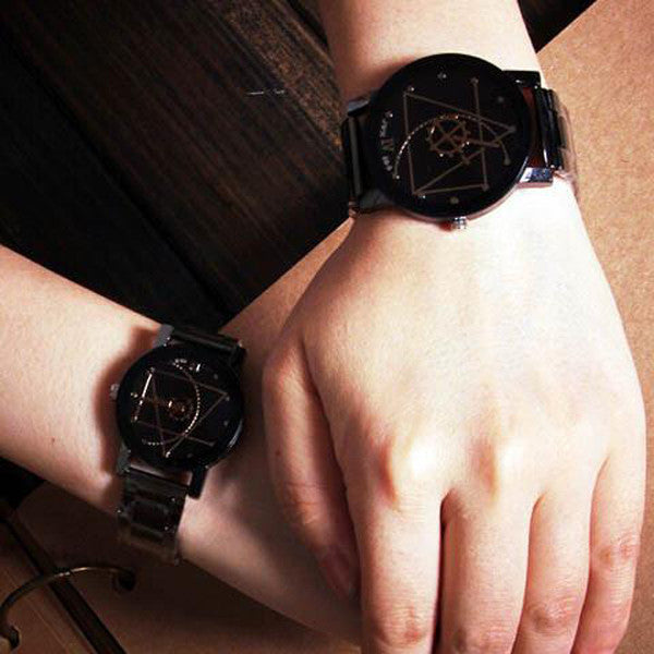 Men/Women Compass Stainless Steel Quartz Analog Wrist Watch-Rama Deals