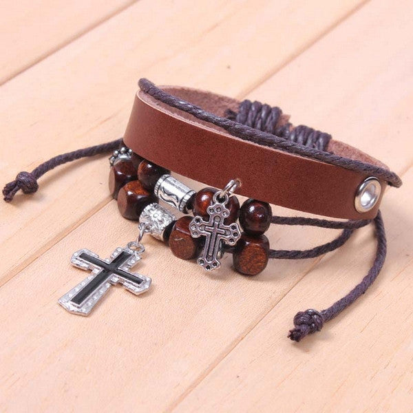 Men Pirate Style Leather Braided Bracelet-Rama Deals