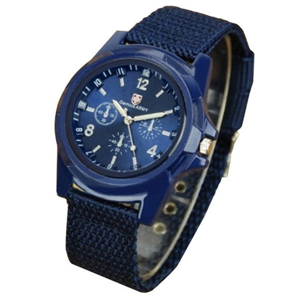 Clearance Mens Canvas Belt Luminous Wrist Watch-Rama Deals