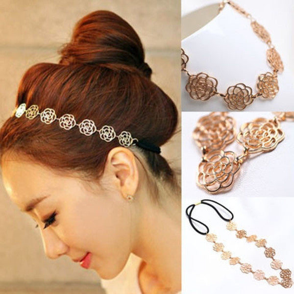 Metal Chain Hollow Rose Flower Elastic Hair Band Headband-Rama Deals