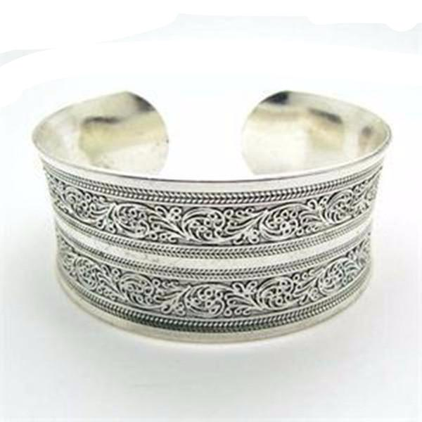 Metal Tibetan Silver Vintage Bangle-Rama Deals