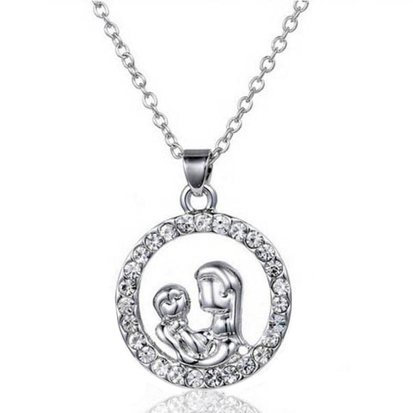 Mom and Baby Fully-Crystal Circle Necklace-Rama Deals