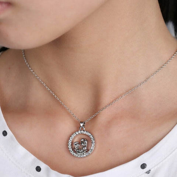 Mom and Baby Fully-Crystal Circle Necklace - Rama Deals - 4