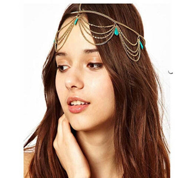 Clearance Multi Layer Metal Gold Plated Head Chain-Rama Deals