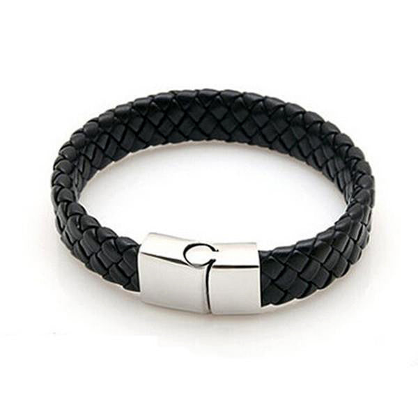 Leather Stainless Steel Bracelets Bangles-Rama Deals
