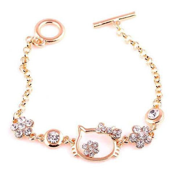 Clearance Gold Plated Hello Kitty Rhinestone Pendant Bracelets-Rama Deals