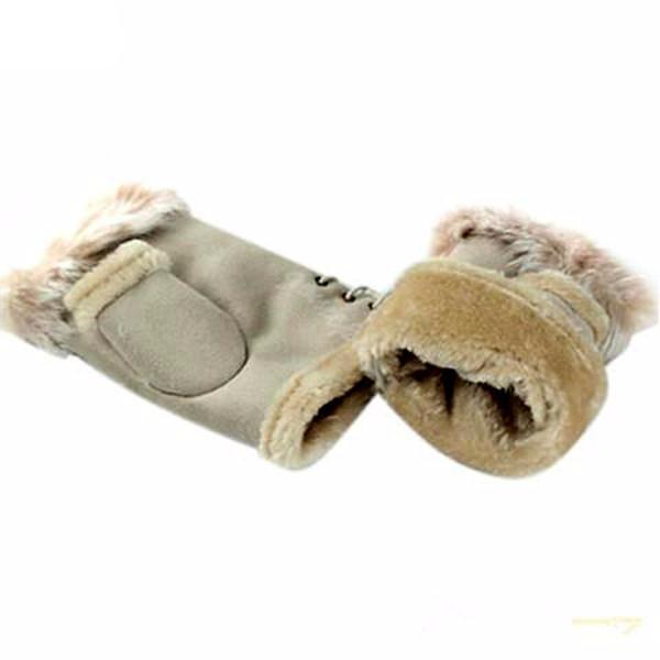 Rabbit Fur Leather Ladies Finger Gloves-Rama Deals