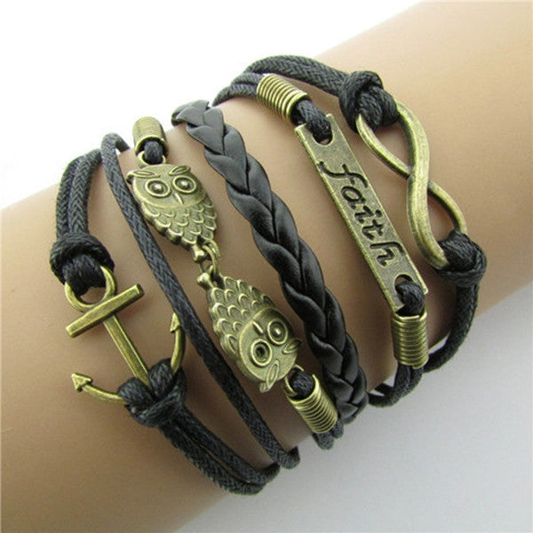 Clearance Owl Faith Wax Cord Multi-Element Braided Bracelet-Rama Deals