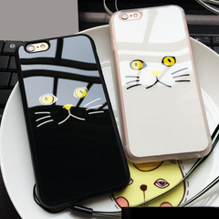 Printed Cat Face Rubber Phone Case for iPhones - Rama Deals - 1