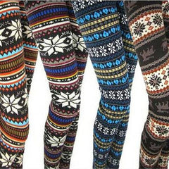 Pair Of Trendy Holiday Print Leggins - Assorted Styles-Rama Deals