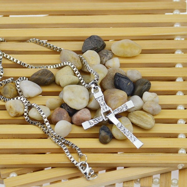 Clearance Punk Trendy Male Cross Crystal Necklace-Rama Deals