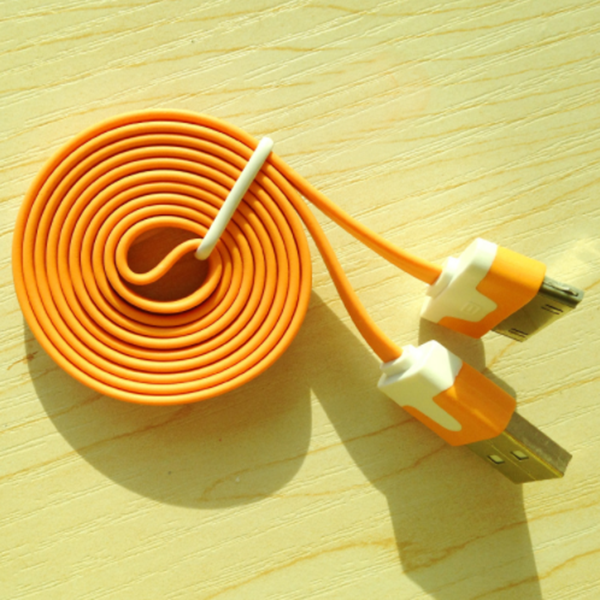 3M Flat Noodle USB Cable For iPhone 4 yellow-Rama Deals