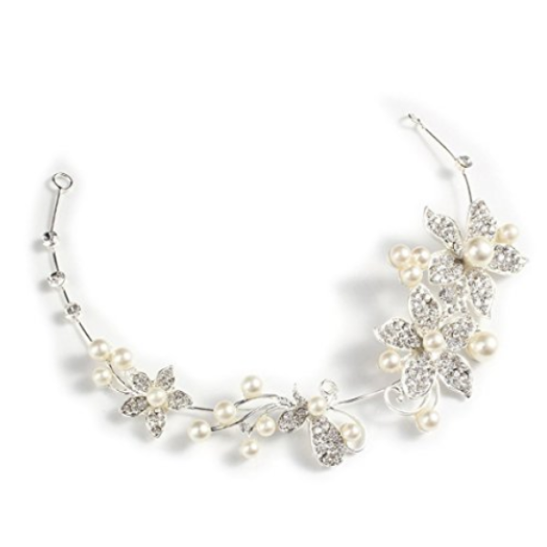 Bridal Wedding Flower Pearls Crystal Headband-Rama Deals