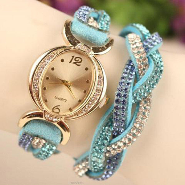 Clearance Rhinestone Diamond Braid Bracelet Watch-Rama Deals
