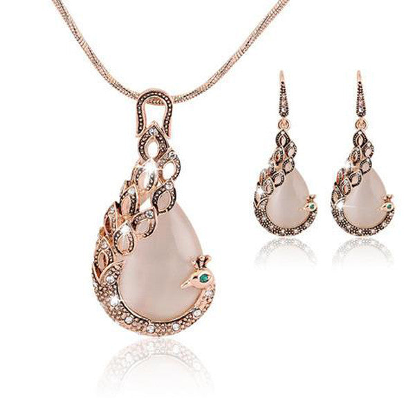 Gold Opal Crystal Peacock Necklace Earring Set-Rama Deals