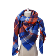 Women's Cashmere Checkered Square Shawl Scarf-Rama Deals