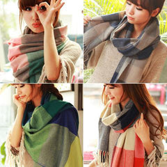 Scarf Plaid Thick Brand Shawls And Scarves For Women-Rama Deals