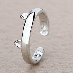Silver Plated Cat Ear Ring - Rama Deals - 1