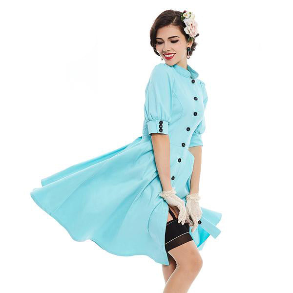 Turquoise Button Line Collar Dress-Rama Deals
