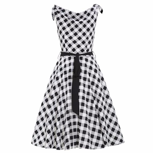 Retro Patchwork V-Neck Dress-Rama Deals