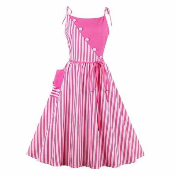 Striped Pink Summer Dress-Rama Deals