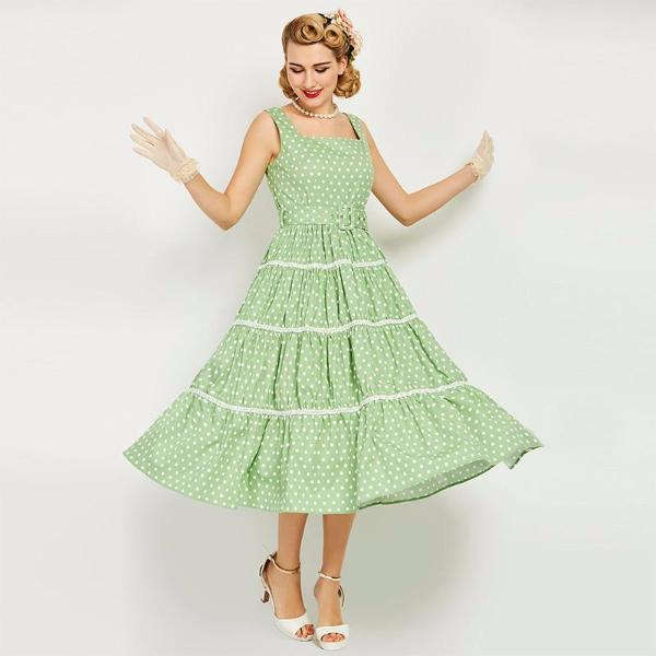 Green Pin Up Party Style Dress-Rama Deals