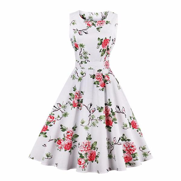 Vintage Floral Print Bow Sashes Dress-Rama Deals