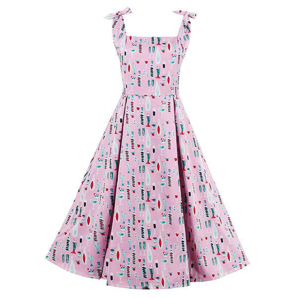 Vintage Pink Rockabilly Slash Neck Bowknot Dress-Rama Deals