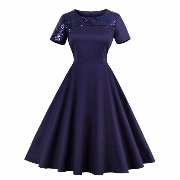 Vintage Dark Blue O-Neck Dress-Rama Deals