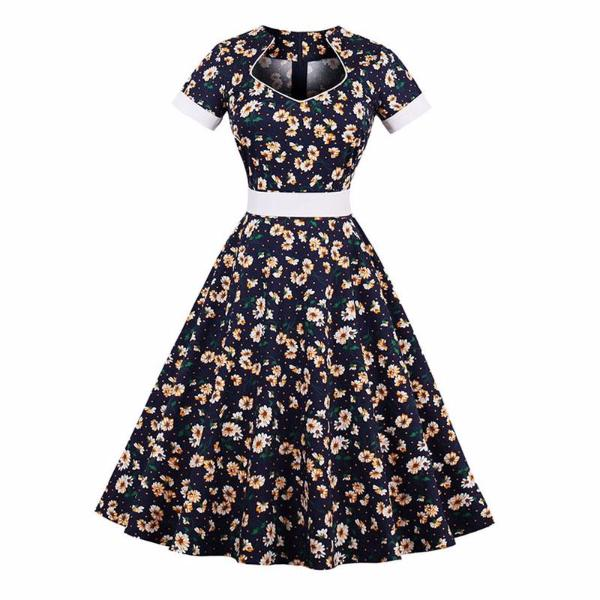 Vintage Floral Print Dark Blue Strapless Dress-Rama Deals
