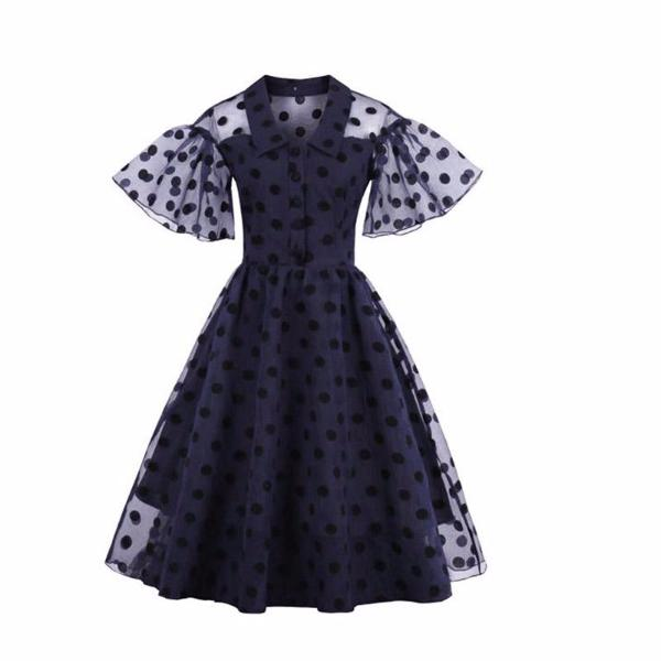 Vintage Dark Blue Polka Dot Party Dress-Rama Deals