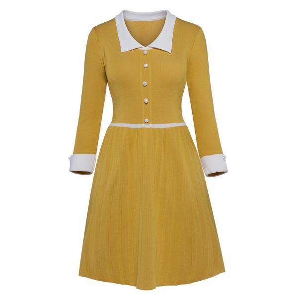 Pleated Button Yellow Dress-Rama Deals