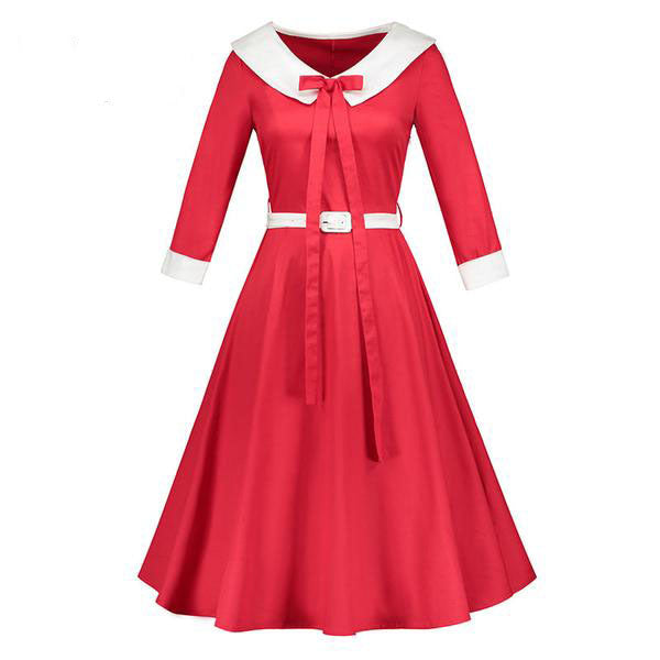 Elegant Bow Sashes Long Sleeves Red Dress-Rama Deals