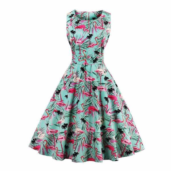 Vintage Floral Flamingo Dress-Rama Deals