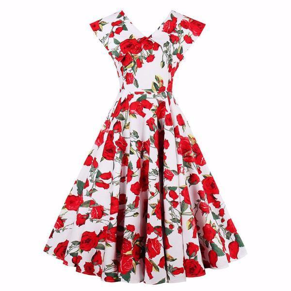 Red Floral Print Sleeveless Party Dress-Rama Deals