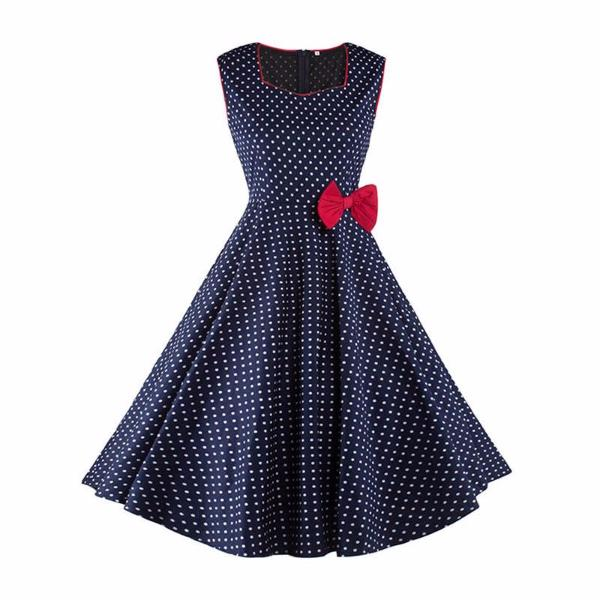Vintage Blue Polka Dot Festive Sleeveless Dress-Rama Deals