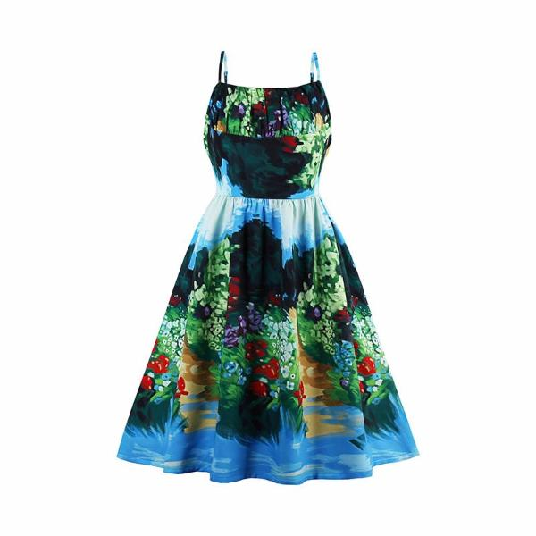 Vintage Ocean Style Dreen Dress-Rama Deals