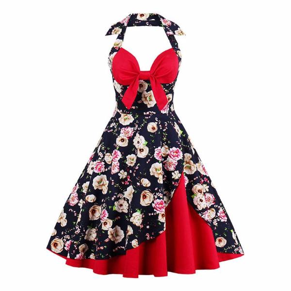 Retro Patchwork Flower Print Dress-Rama Deals