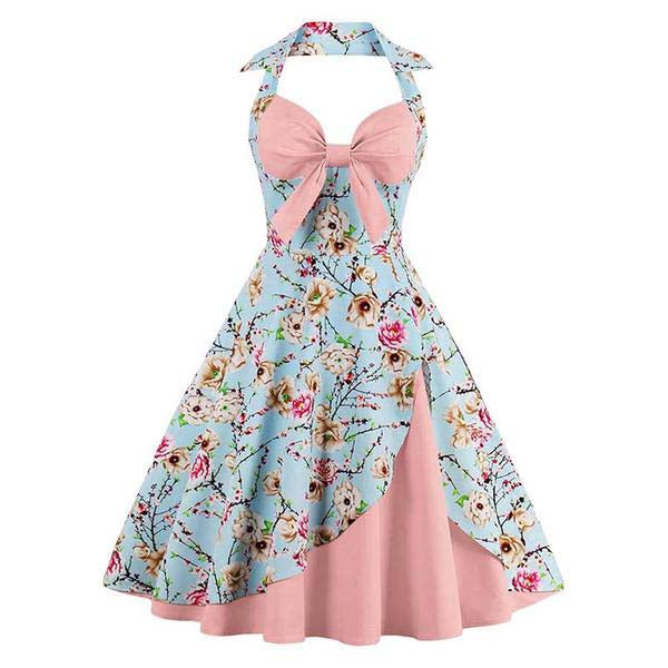 Retro Sewing Flower Dress with Cute Bow Belt-Rama Deals