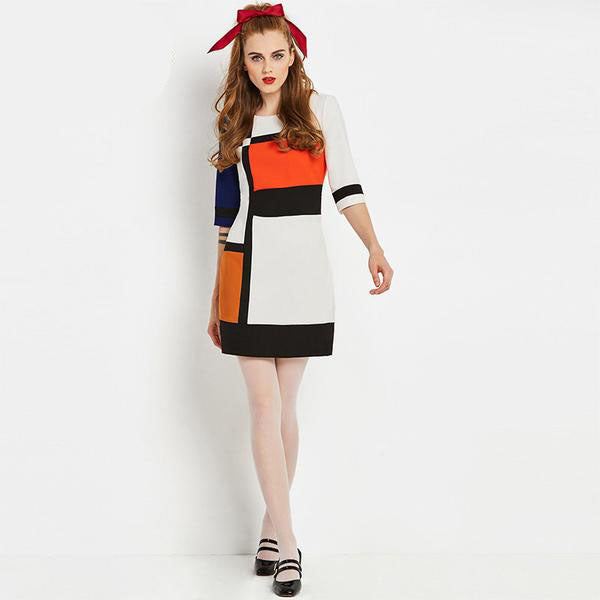 Vintage Patchwork Geometric Dress-Rama Deals
