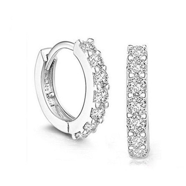 White Crystal Sterling Silver Hoop Earrings-Rama Deals