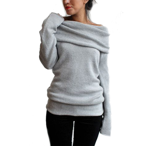 Long Sleeve Women's Slash Neckwarm Sweater - Rama Deals - 1