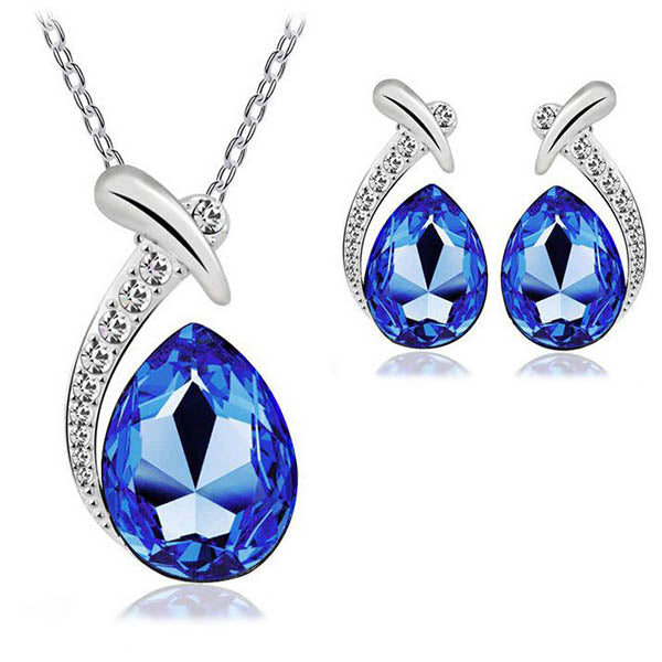 Clearance Crystal Water Drop Jewelry Set- Earrings Necklace-Rama Deals