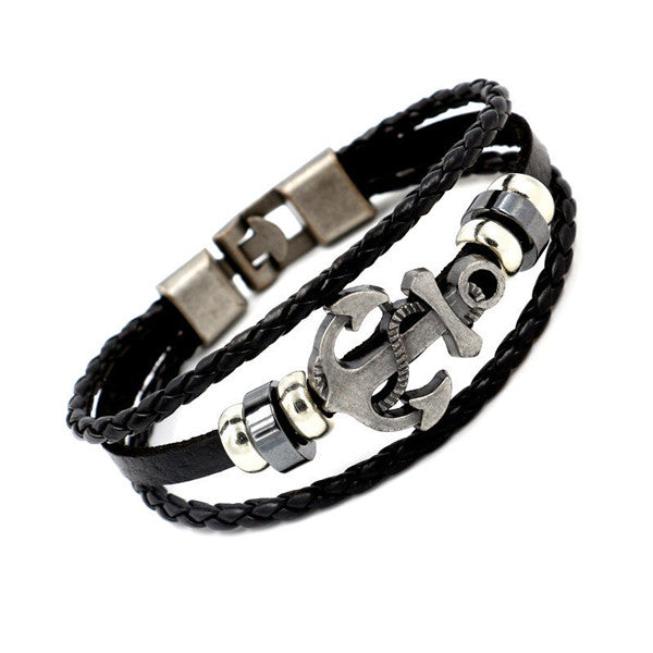 Cool Unisex Wristband Metal Studded Leather Bracelet-Rama Deals