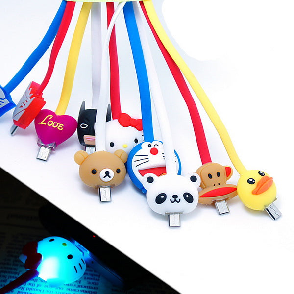 1M Cartoon LED Charger Cable-cat-Rama Deals