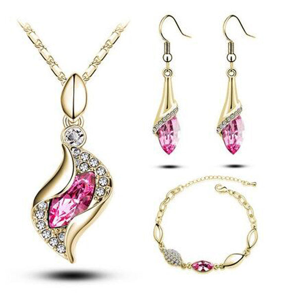 Elegant Luxury Design Plated Colorful Austrian Crystal Drop Jewelry Sets-Rama Deals