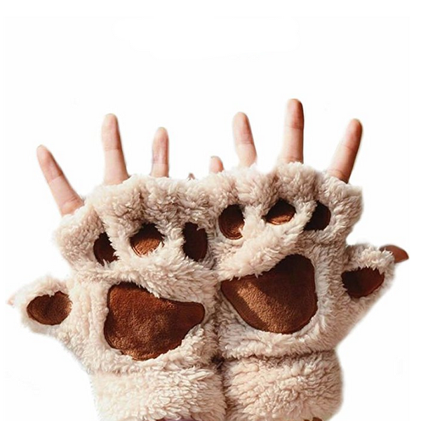 Women Cat Paw Mitten Plush Glove-Rama Deals